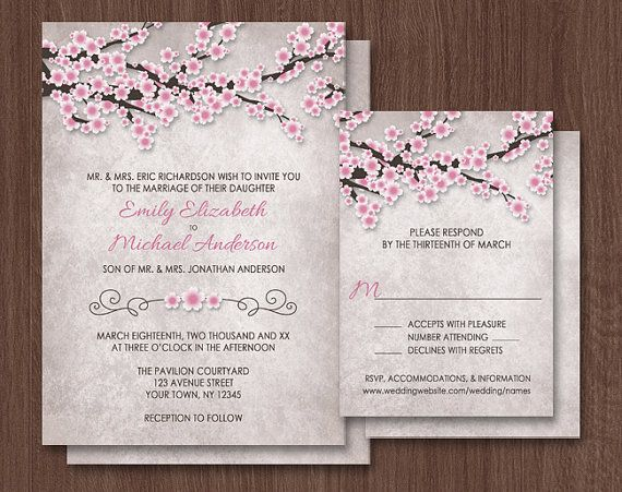 cherry blossom wedding invitations pink rustic vintage design