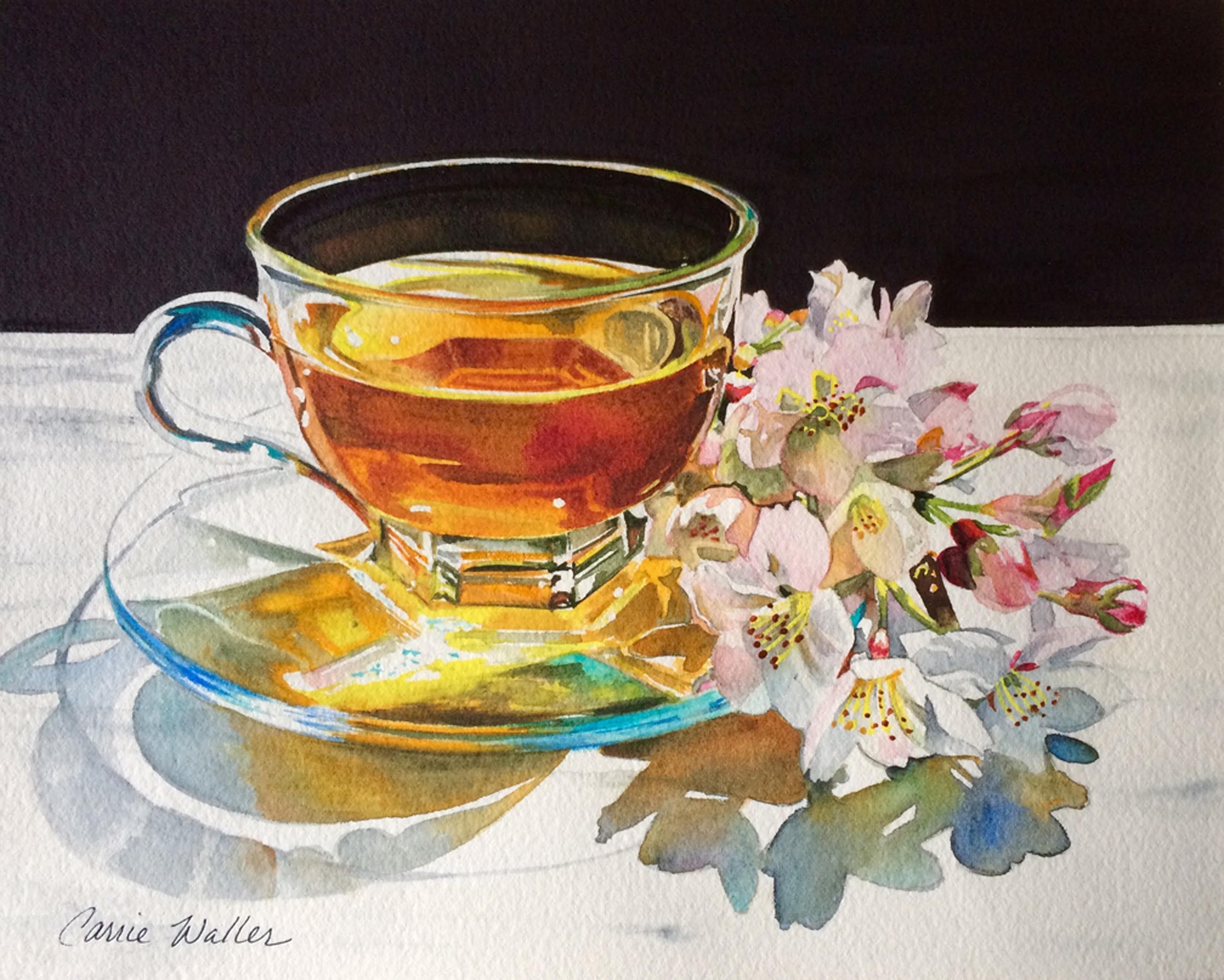 Carrie Waller Step By Step Sakura Tea Watercolor Lessons