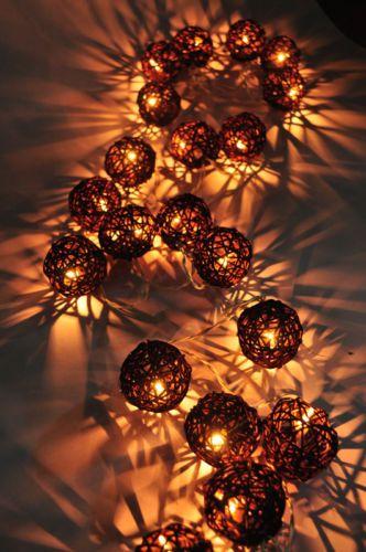 20 brown rattan ball string home,indoor,bedroom,decor,christmas