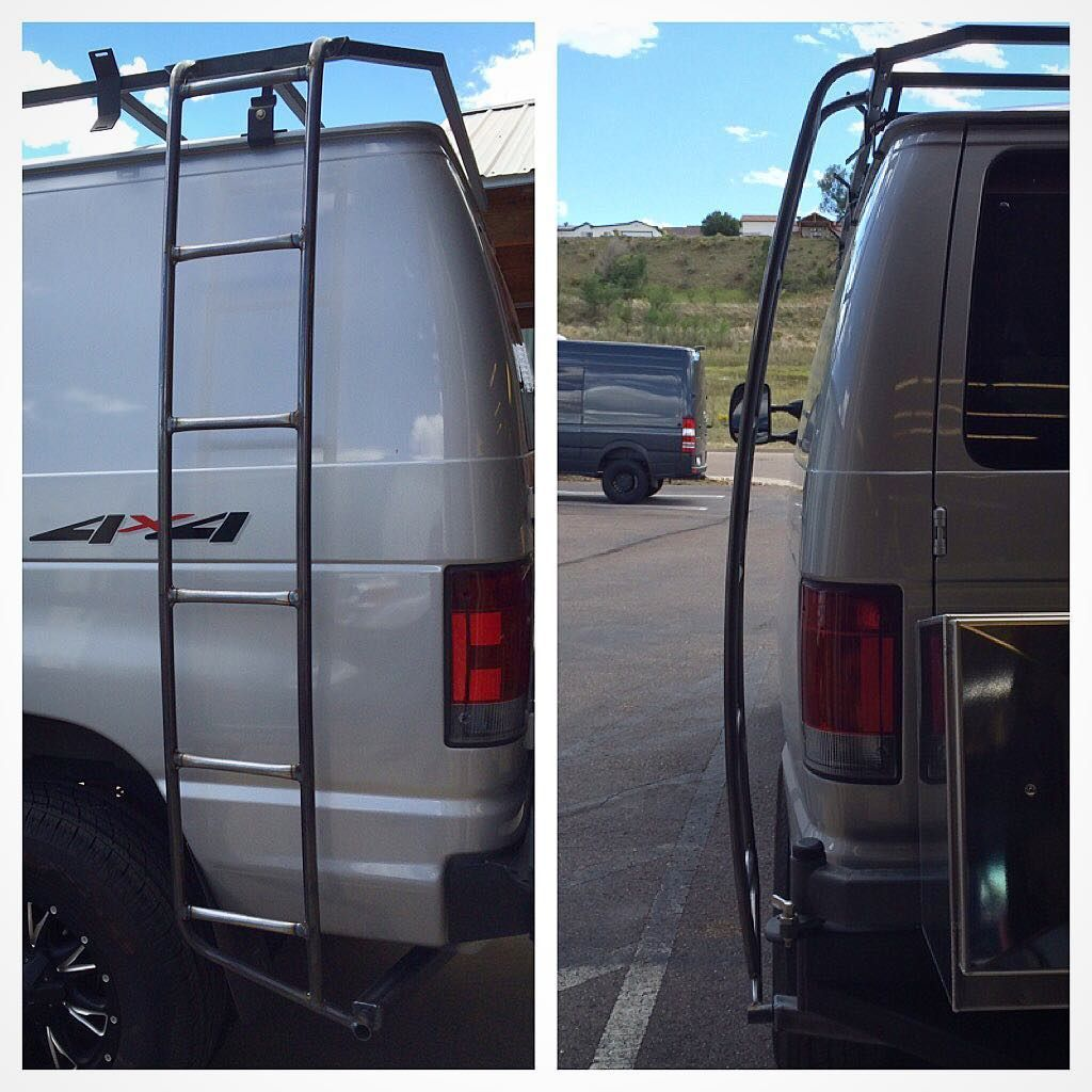 Econoline Ladder Fab D Tested And Ready To Coat Looking Good Ford Fordvan Econoline Fordeconoline 4x4 Quigley Quigley4x4 Camper C Leiter Bus Autos