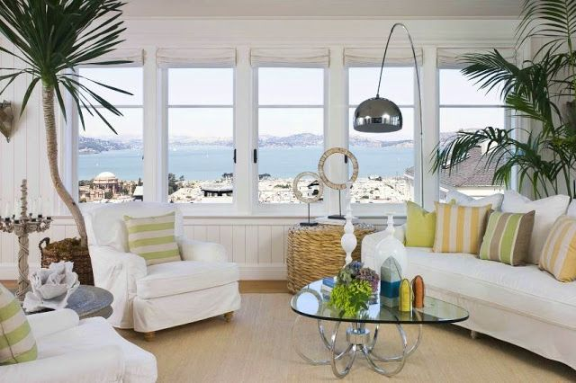 Roman shades mounted inside the windows are high enough - Glass block windows in living room ...