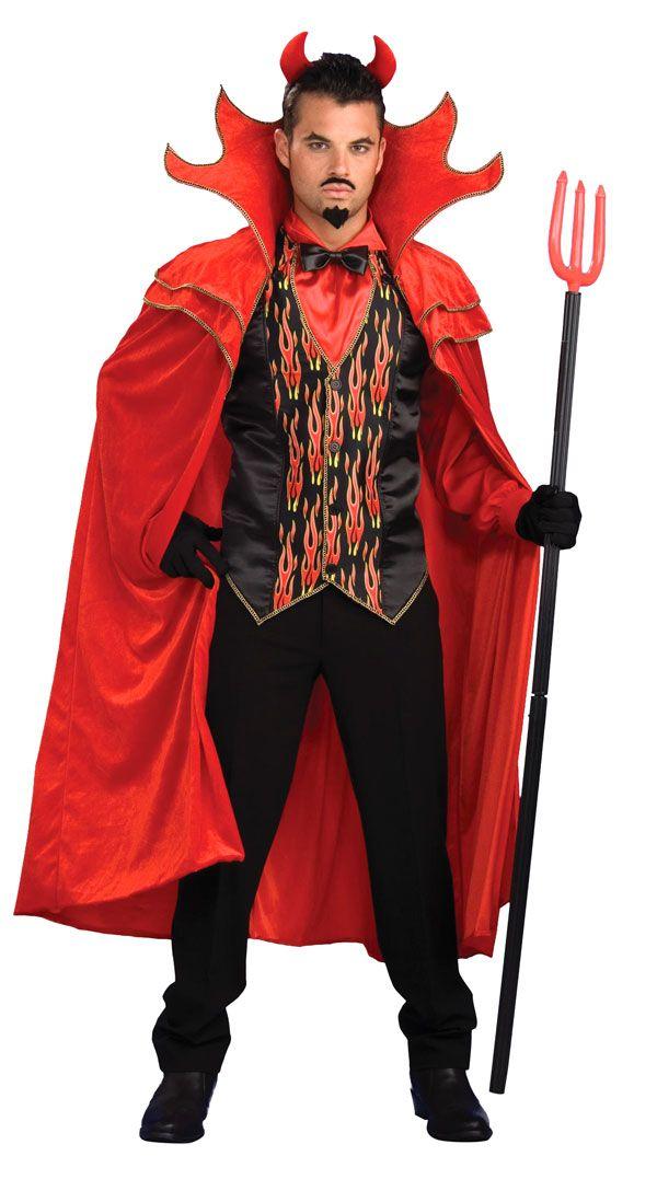 Demon Satan Mens Fancy Dress Halloween Spooky Ghost Horror Adult Costume
