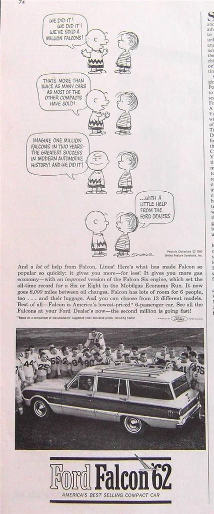 1961 Ford Falcon Station Wagon Ad Peanuts By C Schulz Cartoon Ford Falcon Ford Station Wagon