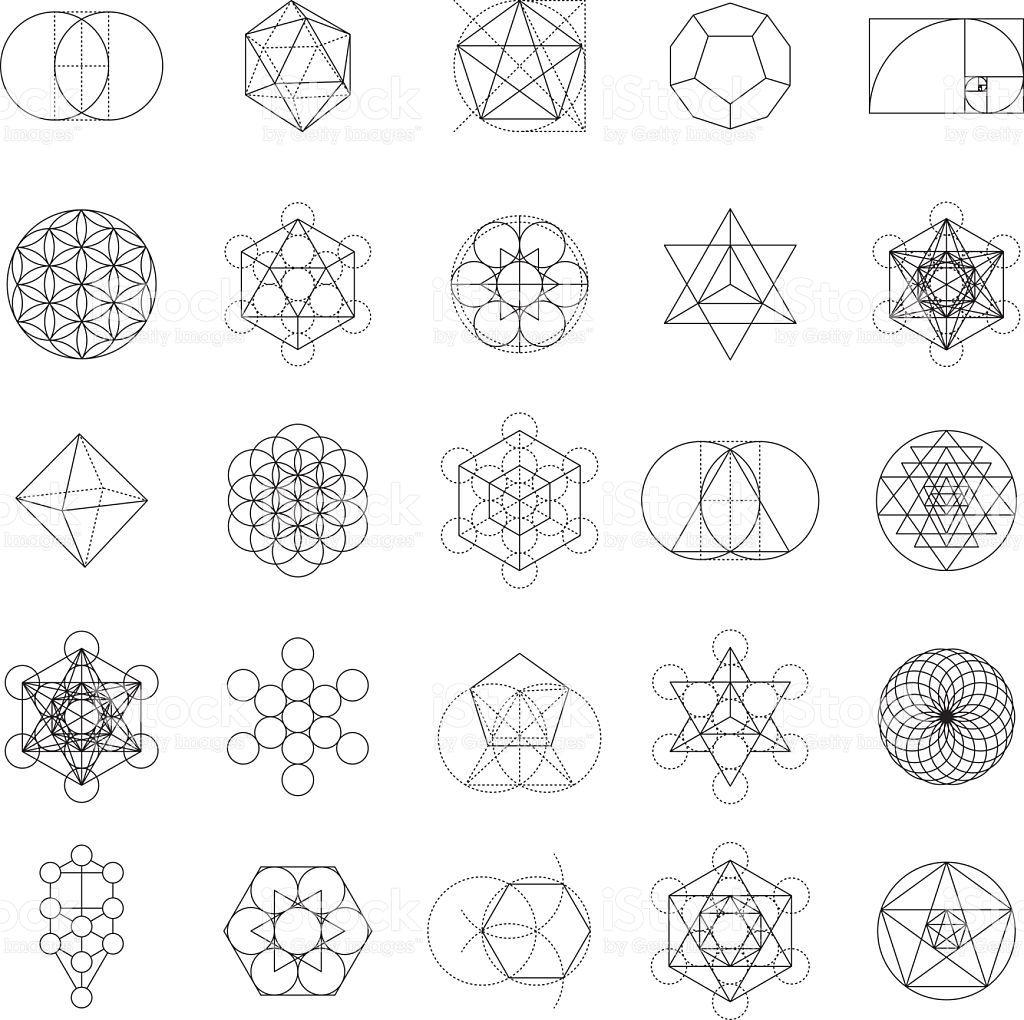A set of sacred geometric icons. Sacred geometry is the
