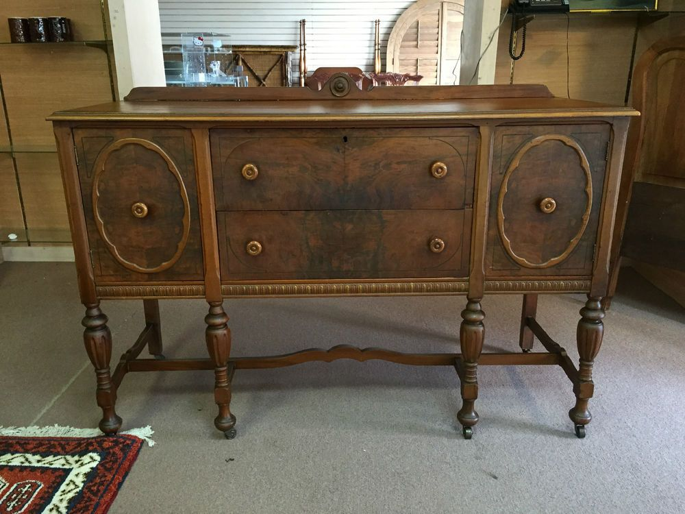 Gorgeous Antique Walnut Jacobean Style Sideboard Circa