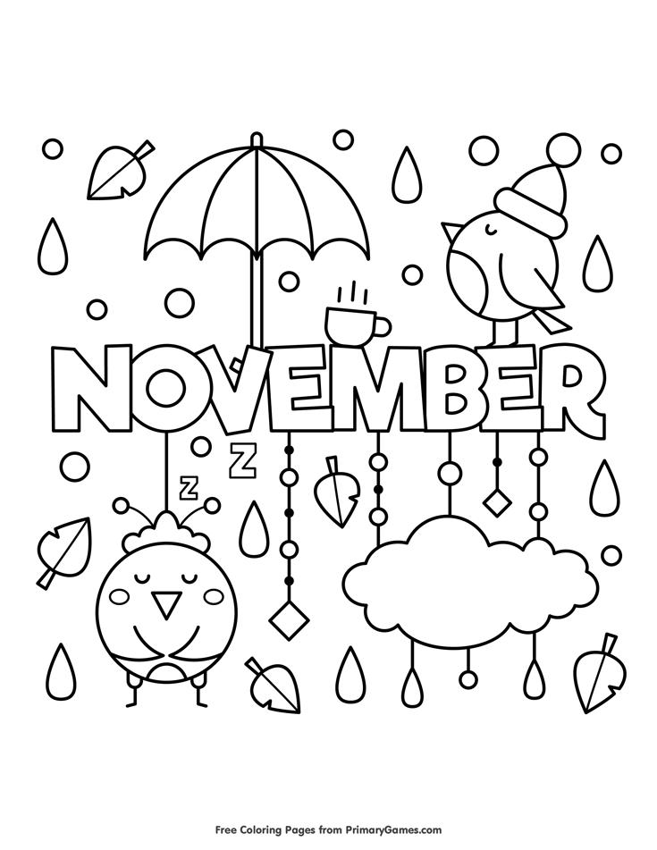 Fall Coloring Pages Ebook November Hojas Para Colorear