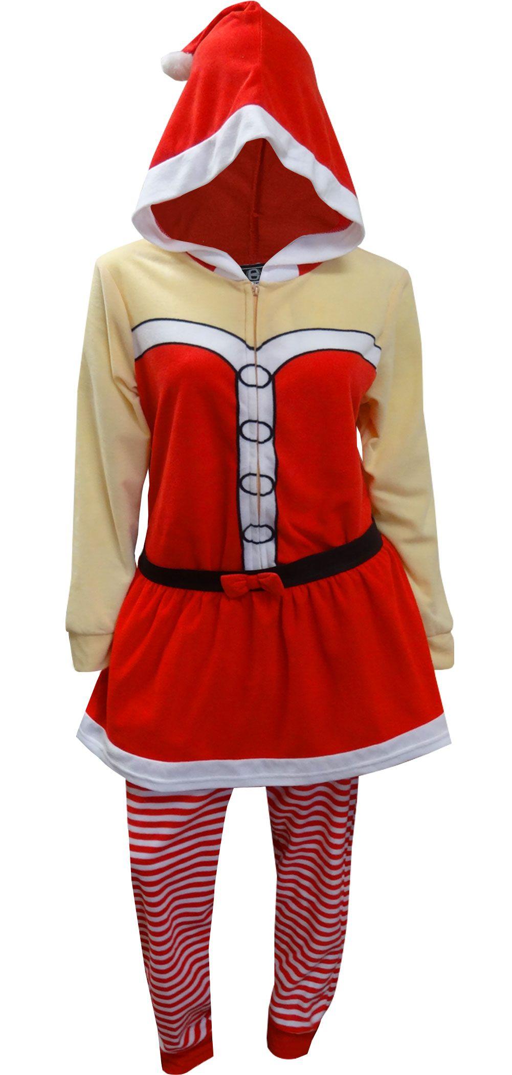 WebUndies.com Mrs Santa Claus One Piece Hooded Skirted Union Suit Pajama d635d4ed8