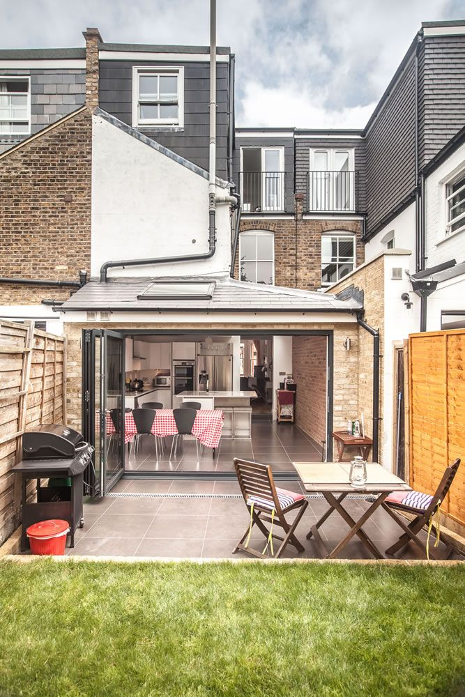 Great Kitchen Extension, Victorian Property Extension, Kitchen Design Ideas,  Bi Fold Doors, Exposed Brickwork, Red Check Tablecloth