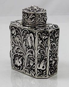 German 800 silver tea caddy with Austrian touch marks
