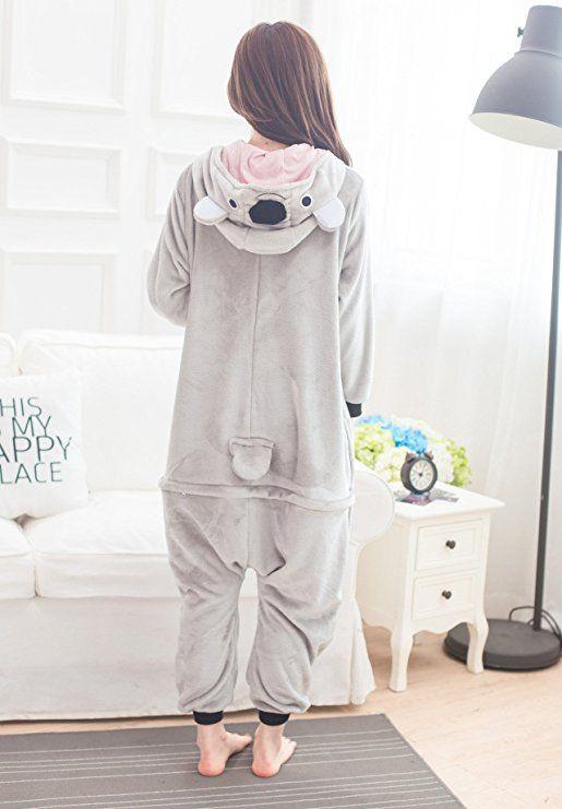 8be49bd252 Amazon.com  Adult Unisex Animal Grey Koala Pajamas Kigurumi Onesies for  Women   Men S  Clothing
