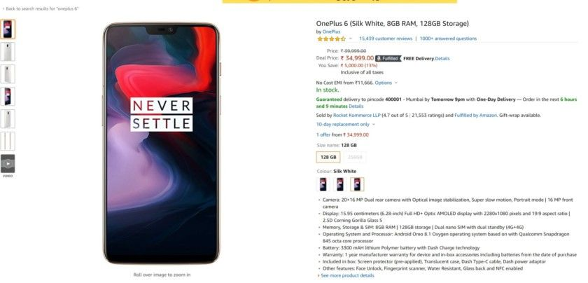 Deal Oneplus 6 128gb Down To 34999 Rupees On Amazon India Was 39999 Google Android Smartphones Os News Androidnews Oneplus New Technology Latest Tech