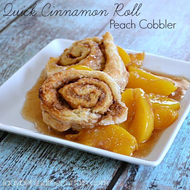The Best Cinnamon Roll Peach Cobbler