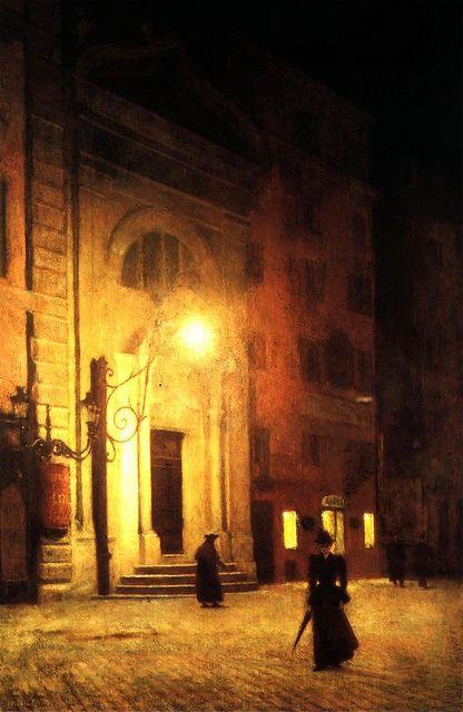 """Alexsander Gierymski (1850-1901) - """"Street in Rome at Night"""", 1890"""