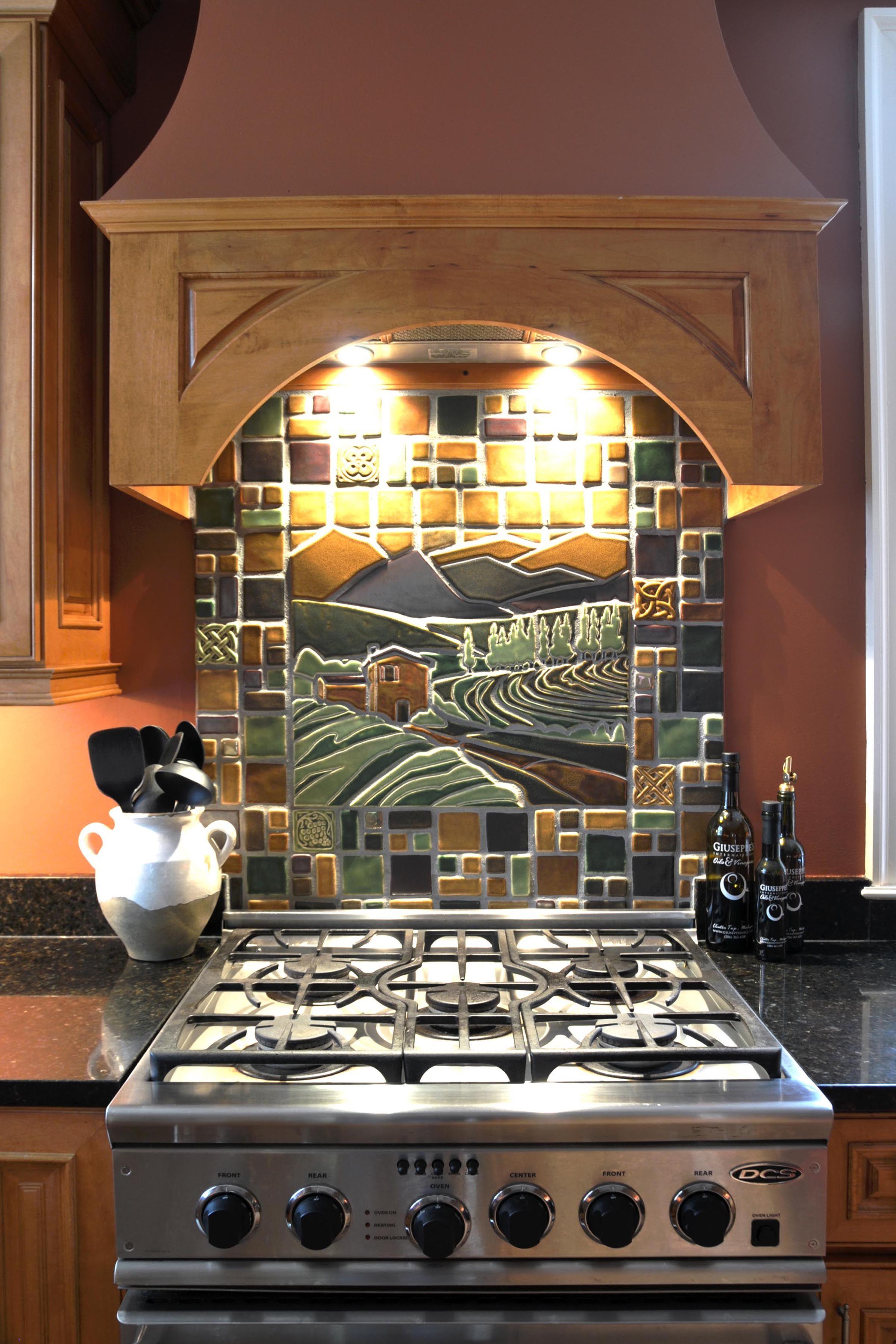 pewabic tile mural part of a kitchen