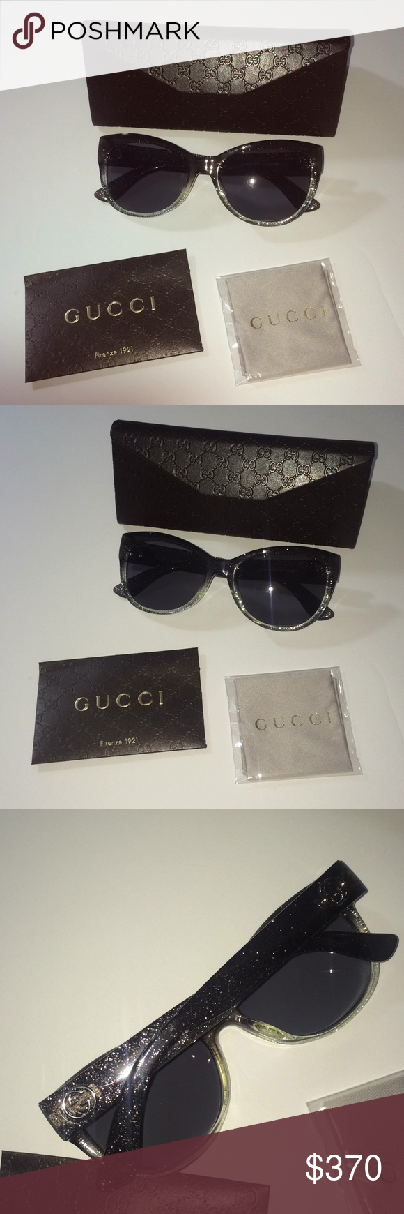 6d5ea566622 Gucci butterfly glasses ombré glitter 60MM New in box / never worn - comes  w box, glasses wipe and authenticity card - Butterfly sunglasses - ombré  grey ...