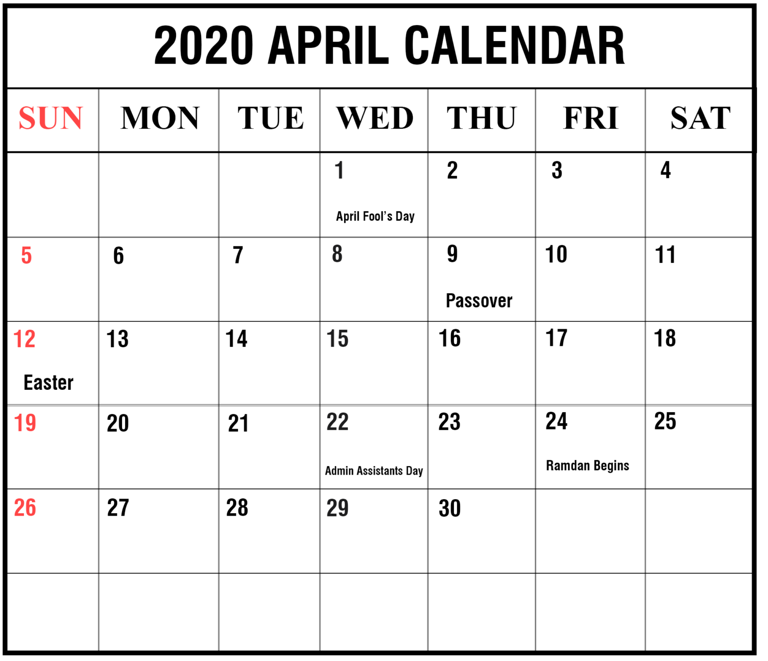 Printable April 2020 Calendar With Holidays Plan Free Printable Calendar Temp Free Printable Calendar Templates Custom Calendar Printable Calendar Template