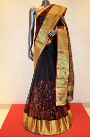 Black With Red Warli Embroidery Pure Cotton Saree Product Code: AB210273