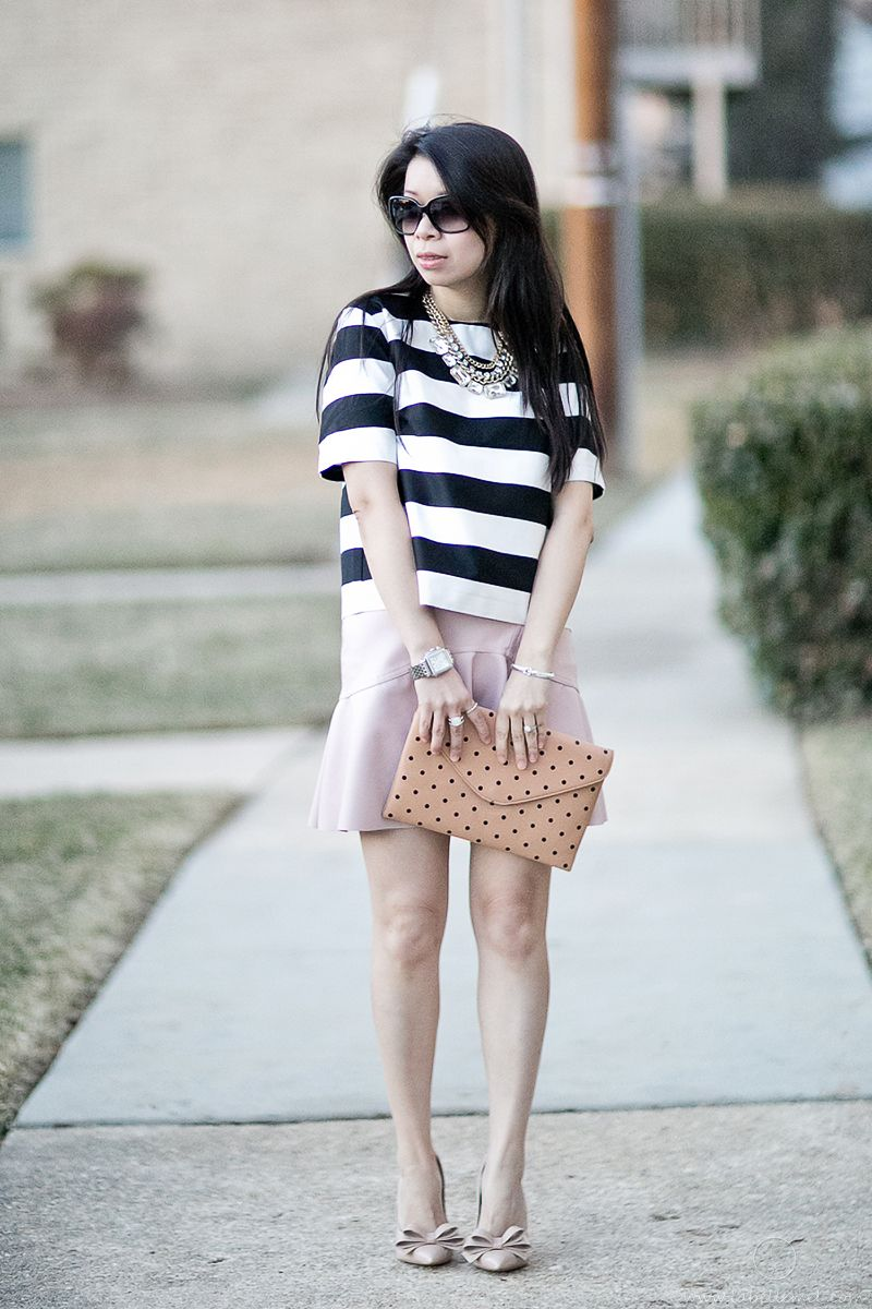 Flirting with Spring in Bold Stripes + Pleather Ruffled Skirt #OOTD
