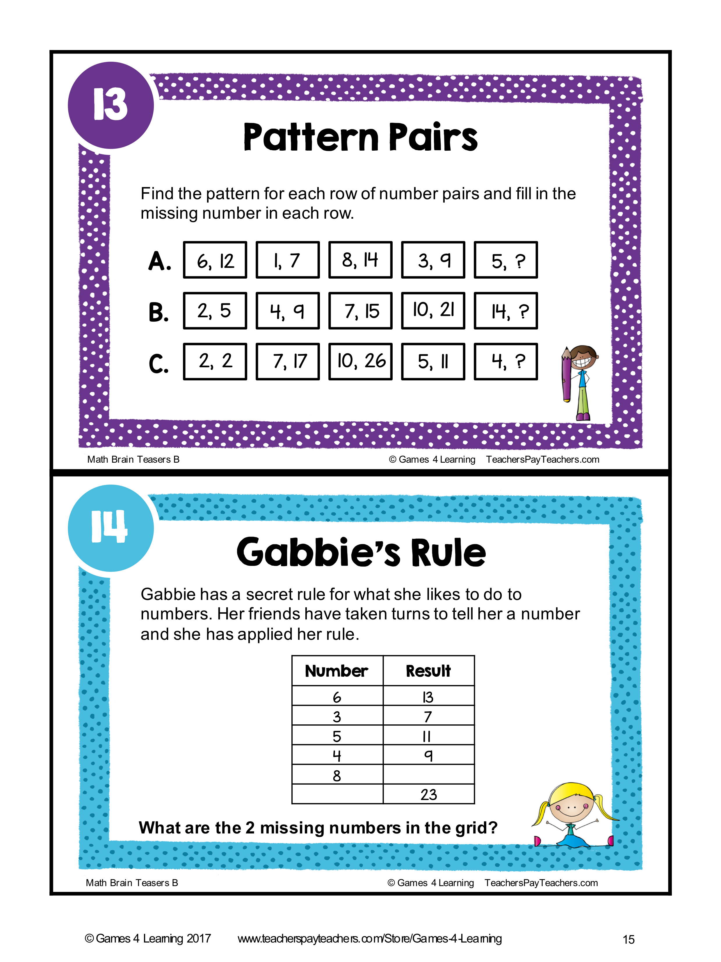 Math Task Cards Math Problems And Math Brain Teasers Cards Set B