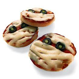 English muffin, tomato sauce, mozzarella cheese and black olives to create Pizza Mummies.