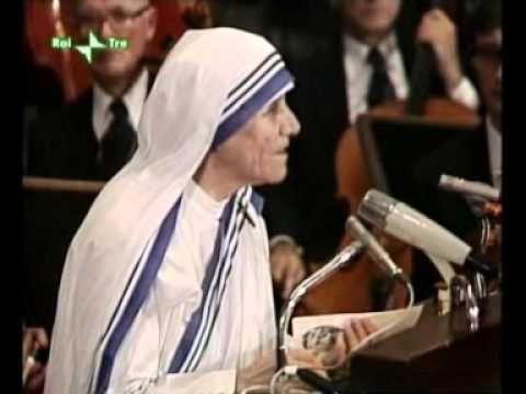 Discorso Per Il Nobel Della Pace Di Madre Teresa Mother Teresa
