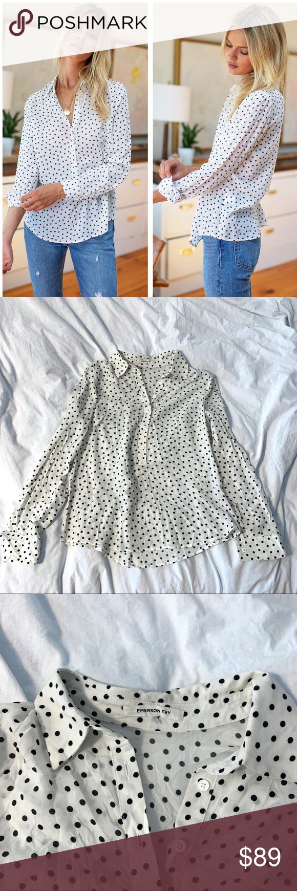Emerson Fry polka dot blouse s small Emerson Fry blouse Sz small Emerson Fry Tops Blouses #emersonfry