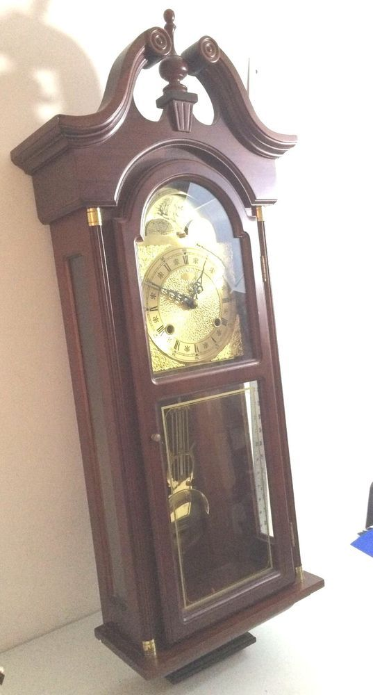 Grandfather Wall Clock Oak Wood Hanging Pendulum Chime Vintage Solid