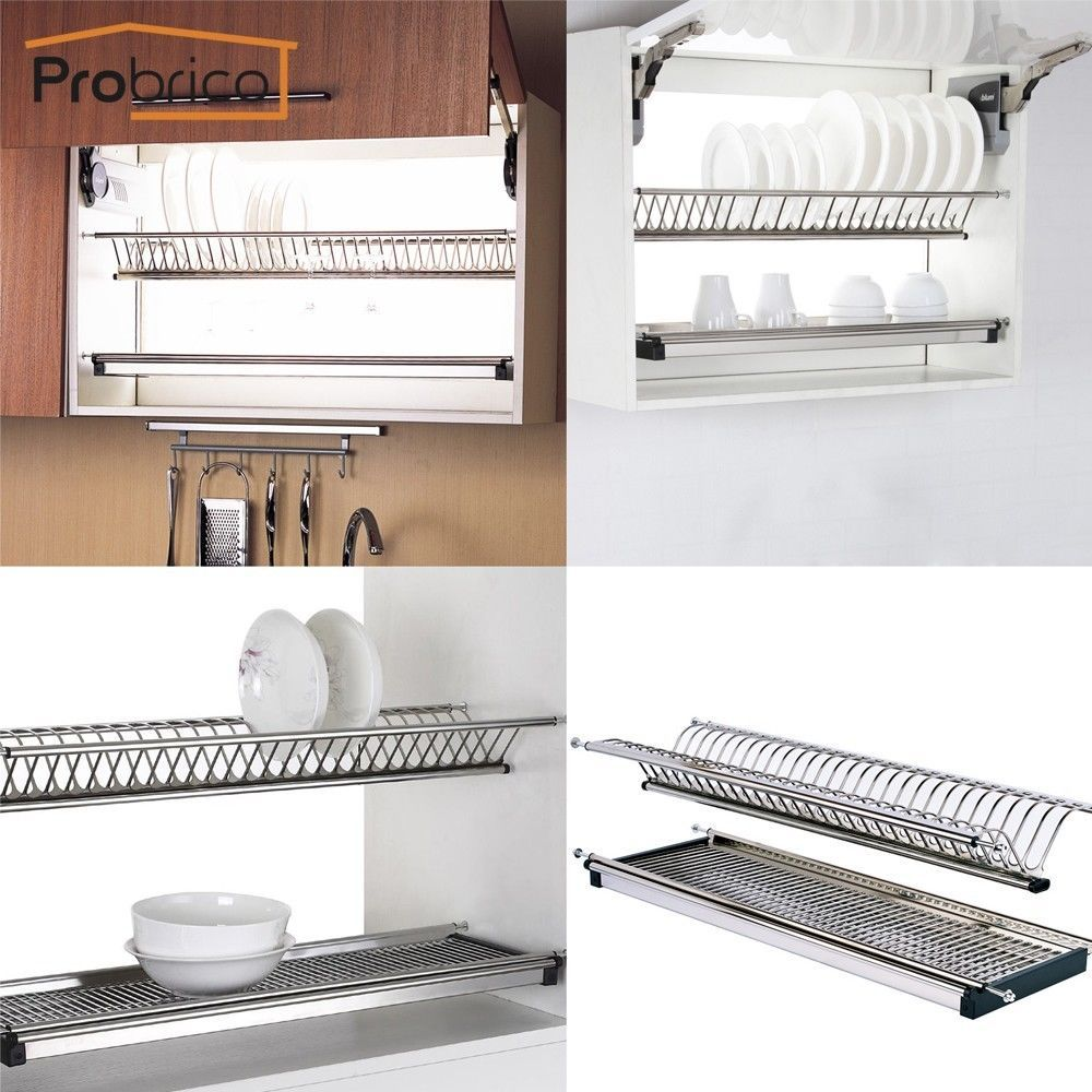 Stainless Steel 2-tier Dish Drying Rack For Kitchen Cabinet Plate ...