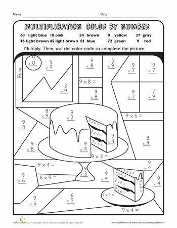 Worksheets Multiplication Color By Number Cake Third Grade Worksheets Third Grade Math Worksheets Math Worksheets