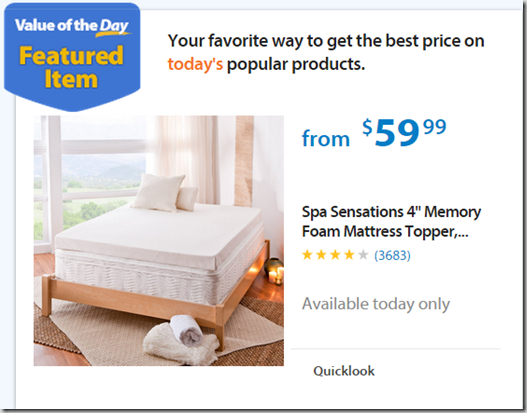 Walmart Values Of The Day Spa Sensations Mattress Topper Just