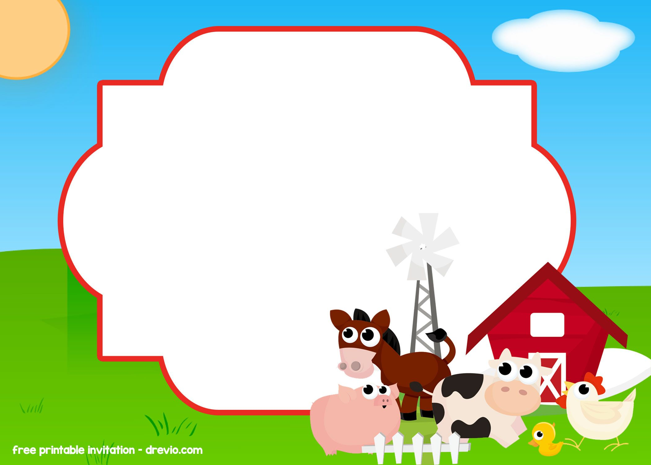FREE Farm – Barnyard Invitation Templates  Farm birthday