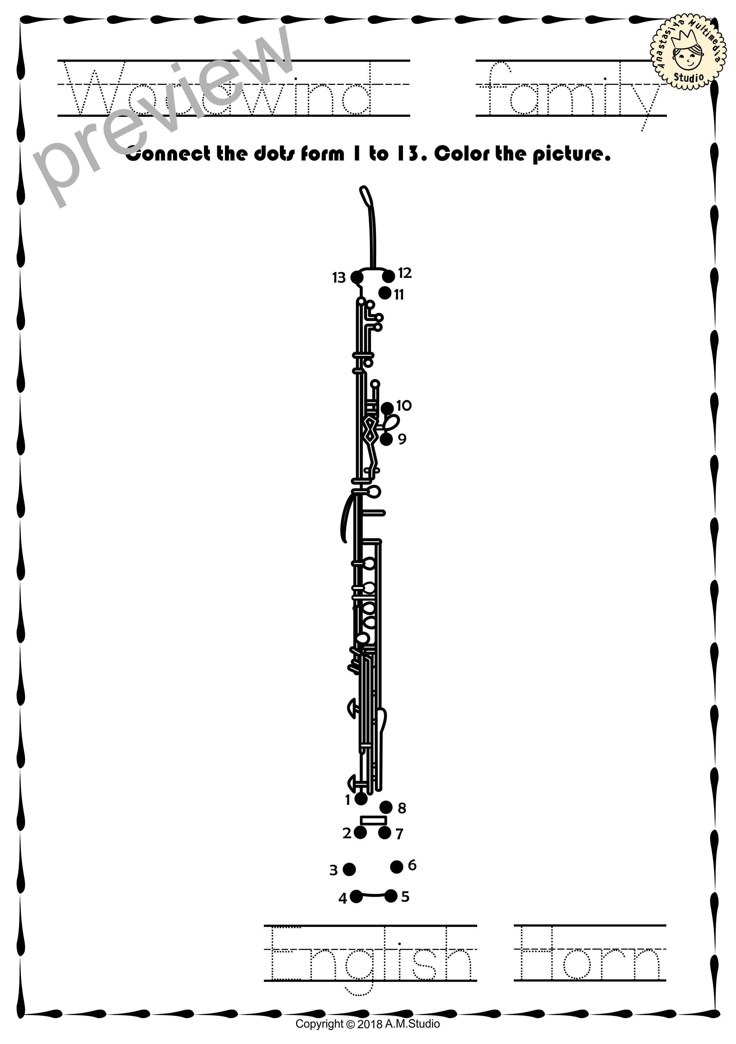 Woodwind Instruments Dot To Dot Worksheets