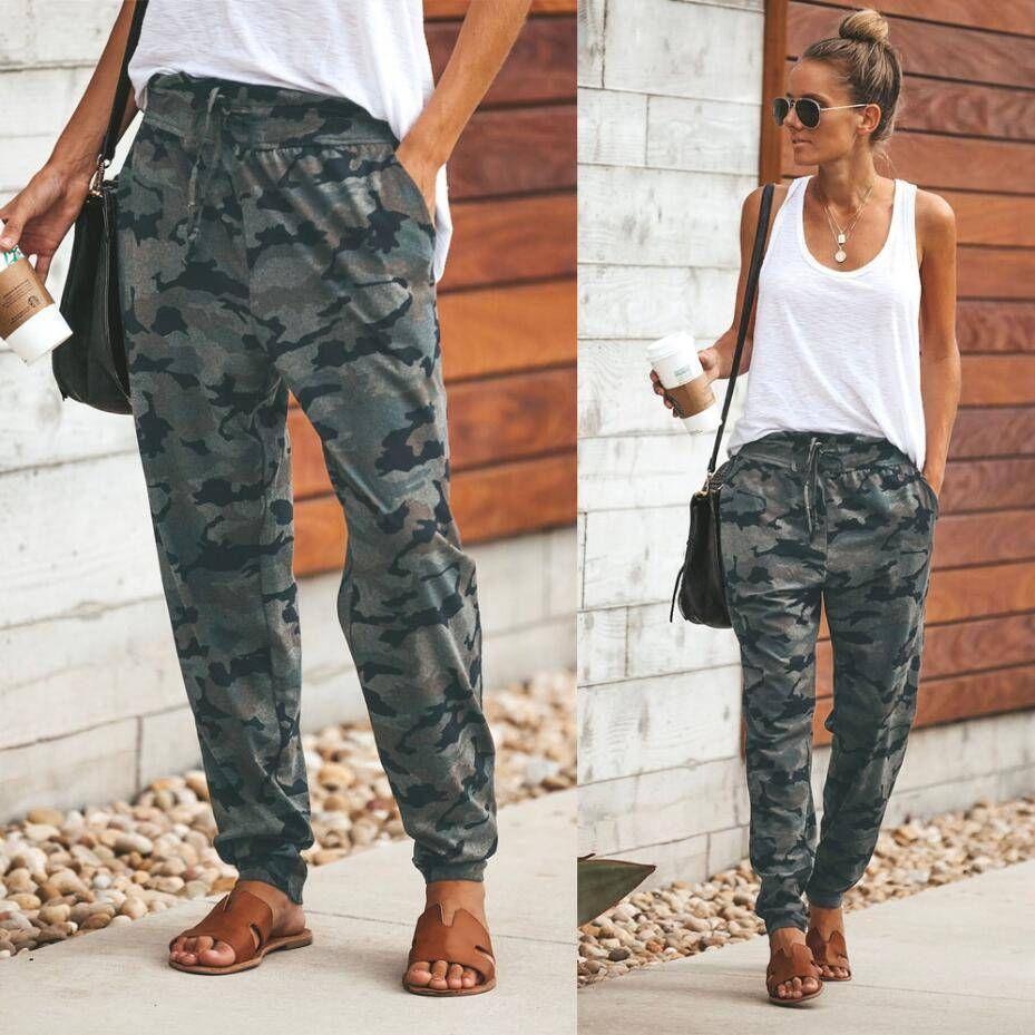 786cc8d56d38a5 Women Camouflage Jogger Pants Camo Print Joggers Elastic Waist Casual  Sweatpants