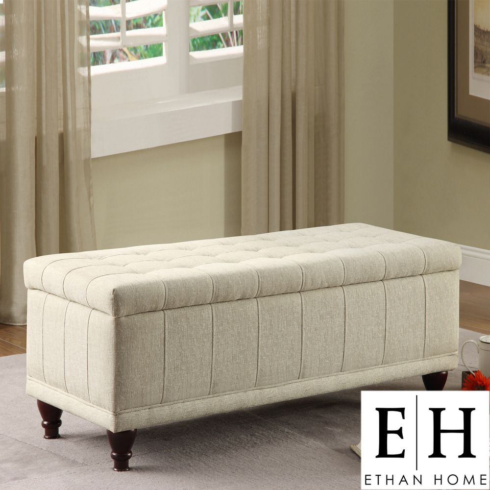 ETHAN HOME St Ives Lift Top Cream Fabric Tufted Storage Bench | Overstock.com & ETHAN HOME St Ives Lift Top Cream Fabric Tufted Storage Bench ...