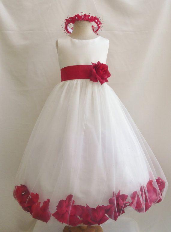 796291c7a0 Flower Girl Dress Rose Petal IVORY CHERRY Wedding Children Easter  Bridesmaid Communion Toddler Red Burgundy Fuchsia Green Yellow Orange