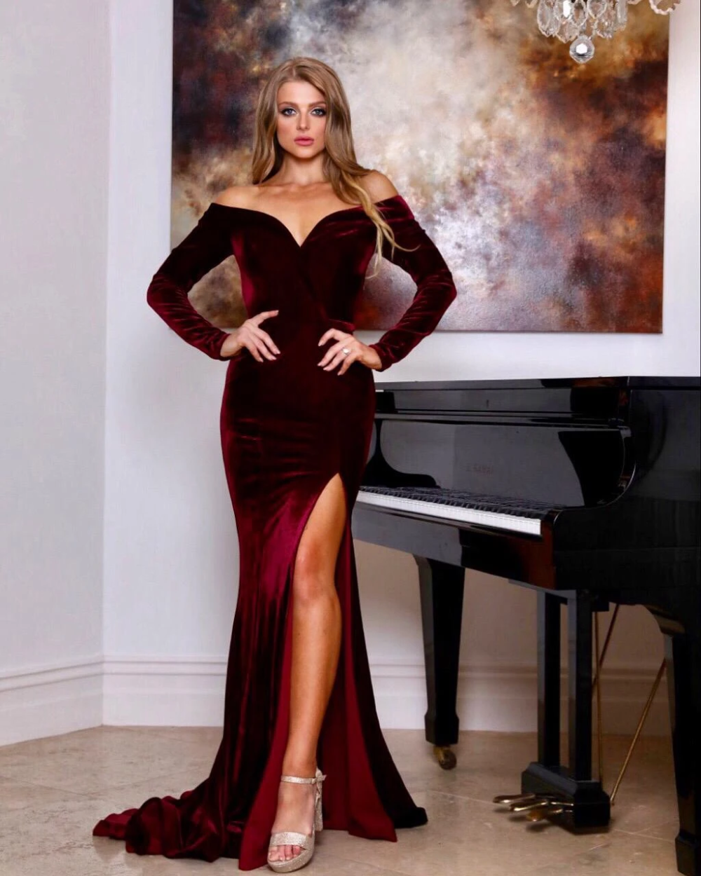 Tinaholy Couture Ta807 Wine Red Velvet Long Sleeve Formal Dress Long Sleeve Dress Formal Velvet Dress Long Velvet Dress Designs [ 1250 x 1000 Pixel ]