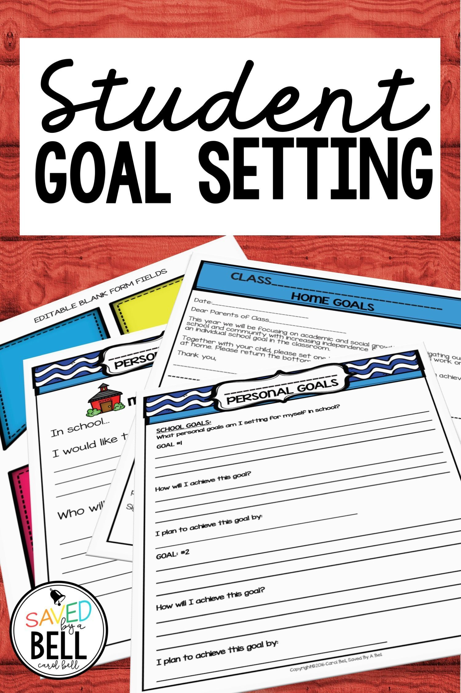 Goal Setting Activity And Bulletin Board With Editable
