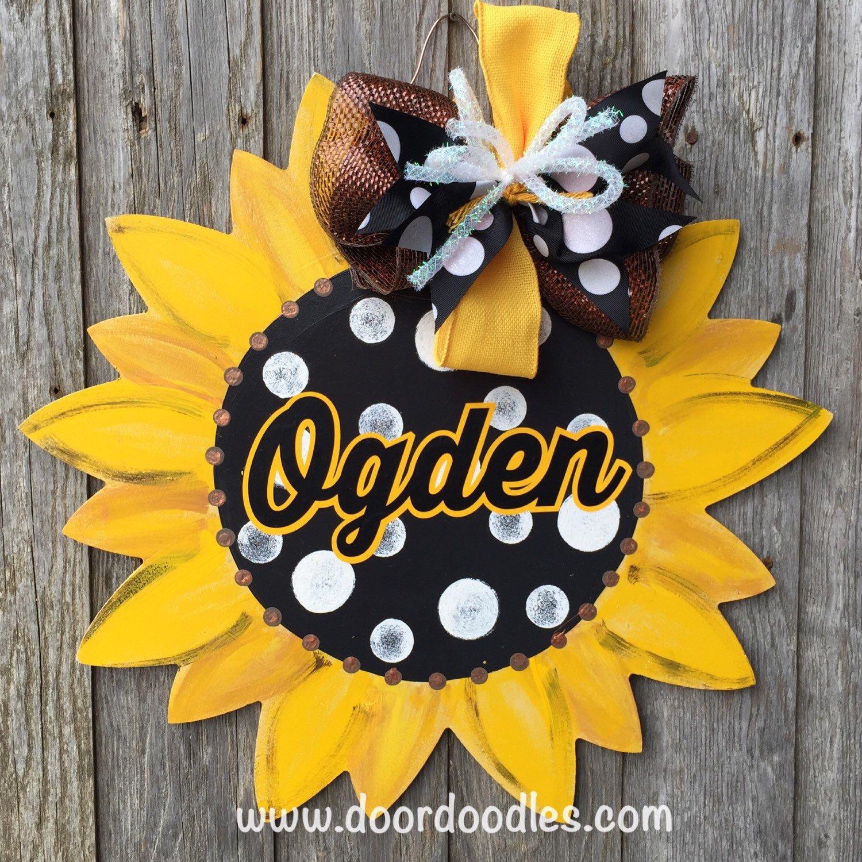 Ships Now Sunflower Front Door Hanger Door Decoration Wood Wooden Yellow Flower Daisy Welcome Sunflower Door Hanger Door Decorations School Door Decorations