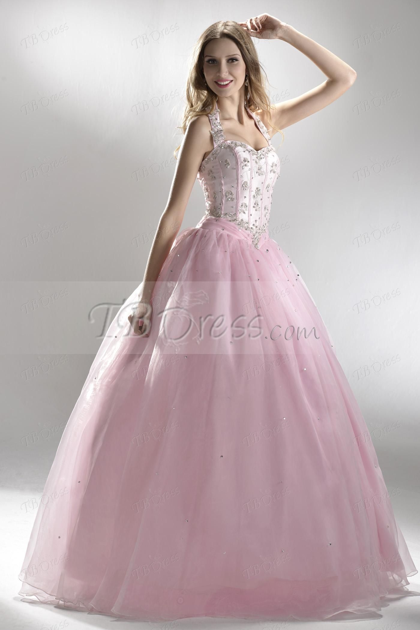 Luxurious Halter Sweetheart Appliques Long Ball Gown/Quinceanera Dress