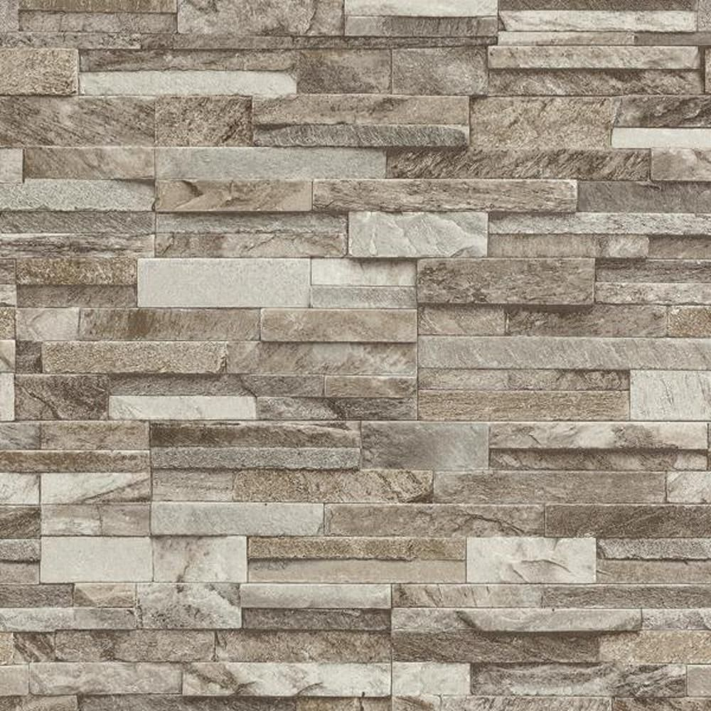 P S International Slate Brick Pattern Faux Stone Effect Textured Wallpaper Beige In 2020 Stone Cladding Texture Stone Cladding Exterior Stone Cladding
