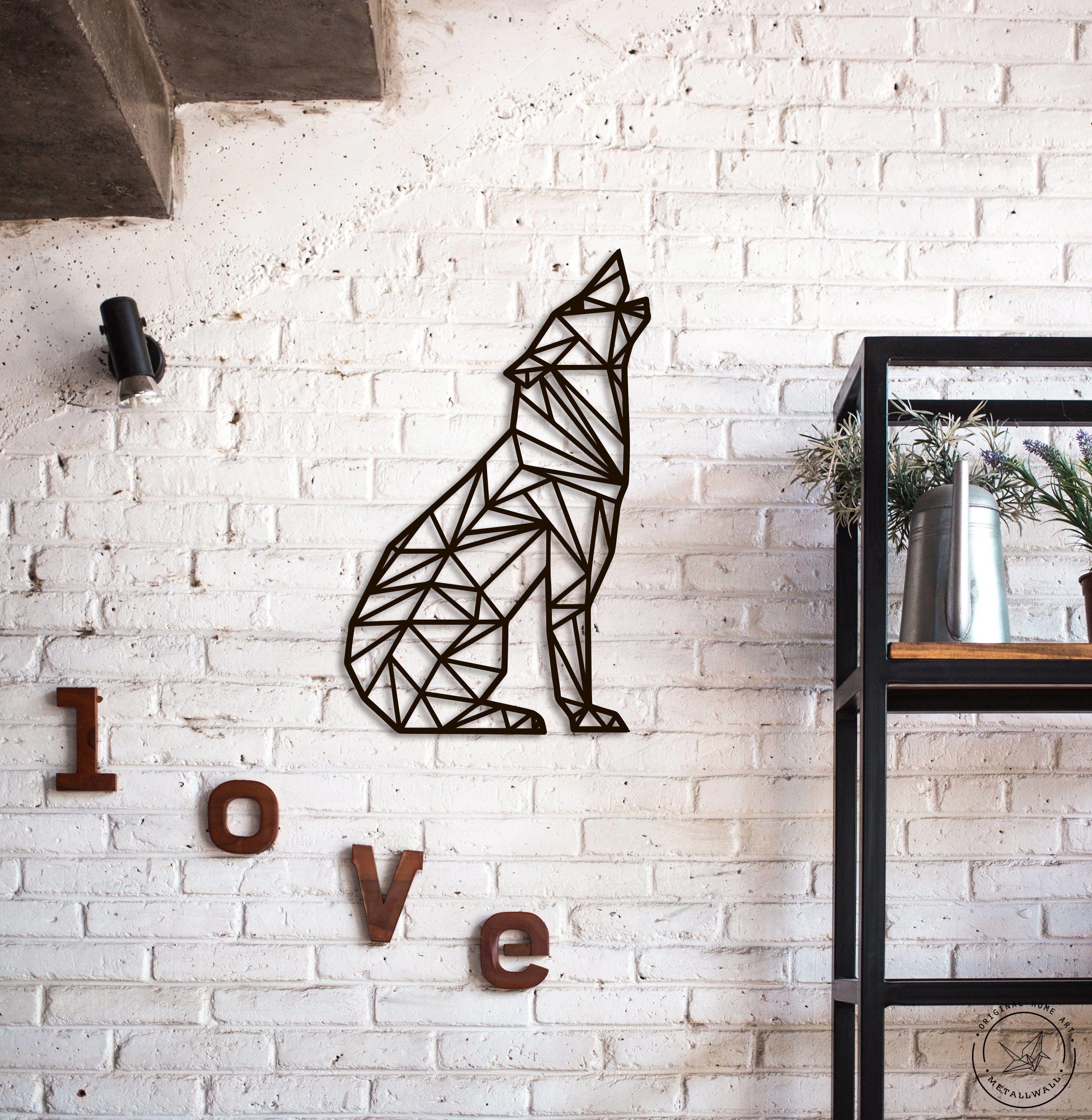 Metal Wall Art Geometric Howling Wolf Steel Home Decor Wall Art Living Room Outdoor Wall Decor Metal Wall Art
