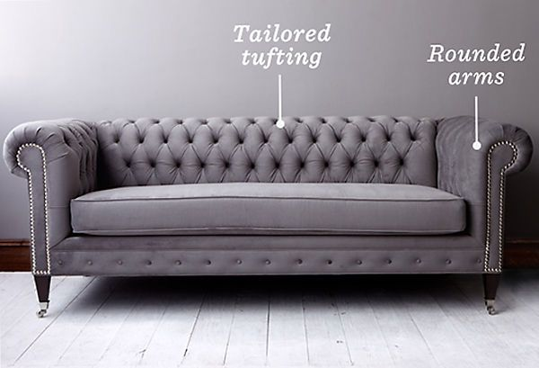 Chesterfield Sofa With Tufting On The Back But Not The Bottom. Big Arms.