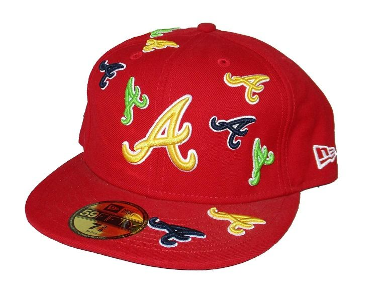 98c7f9f9239 Atlanta Braves Multiple Logos Fitted Size 7 3 8 Hat Cap - Red ...