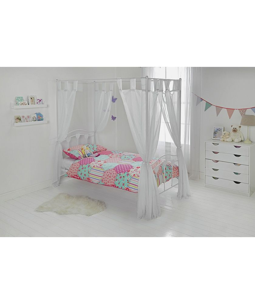 Buy Hearts White Single Four Poster Bed with Elliott ...