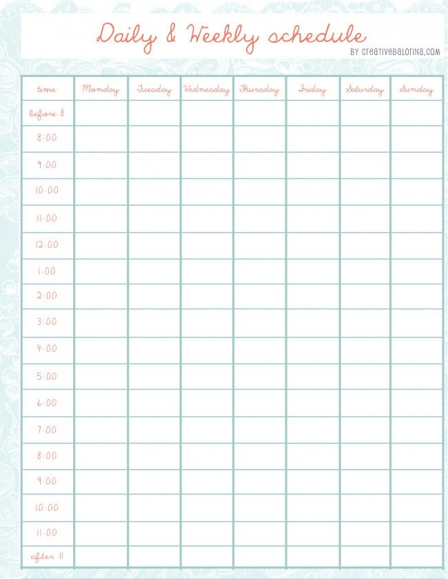 daily \/ weekly schedule template She has even more cute schedule - Daily Task Calendar Template