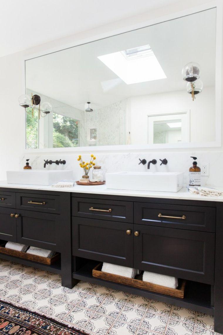 Meuble salle de bain noir, un rangement plein de caractère ...