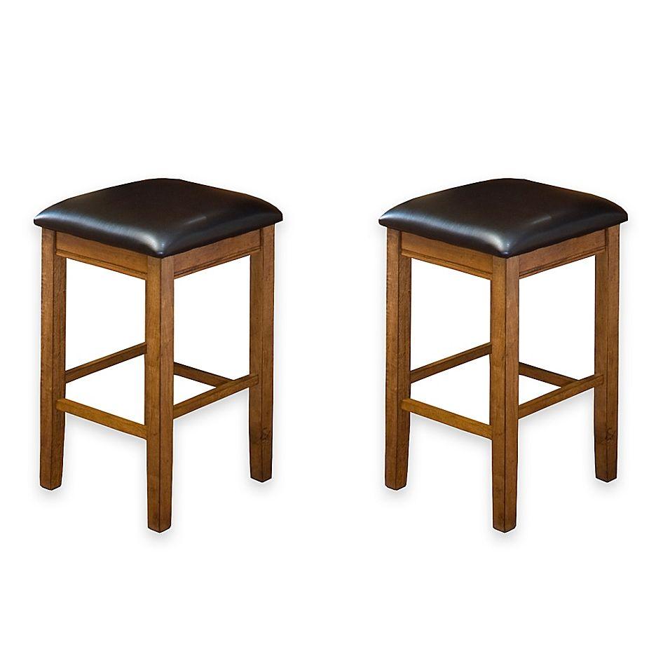 Intercon Furniture Siena 24 Inch Backless Bar Stools In Black Set