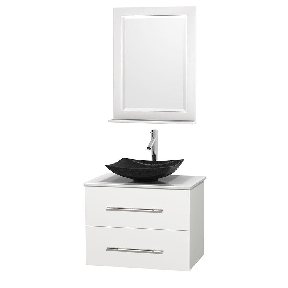 Wyndham Collection Centra 30 In Vanity In White With Solid