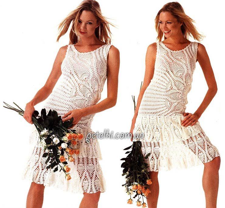 Асимметричное платье с ананасами. Описание, схемы, выкройка ...