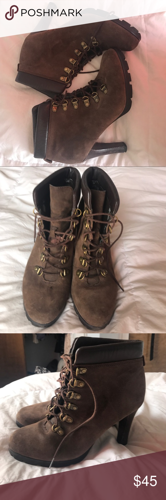Vintage Ralph Lauren Brown Suede Lace Up Bootie Vintage Brown Suede Ralph Lauren lace up Bootie. Size 7. Heels are a little scuffed, one of the RL studs is missing on right bootie and one of the laces is broken. PreLoved with lots of wear left Ralph Lauren Shoes Ankle Boots & Booties